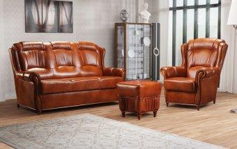 Klasická kožená sedací souprava LEONARDO LUX 3+1+1