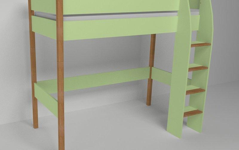 Vyvýšená postel do dětského pokoje 200x90 buk masiv/zelená