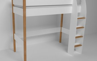 Vyvýšená postel do dětského pokoje 200x90 buk masiv/bílá