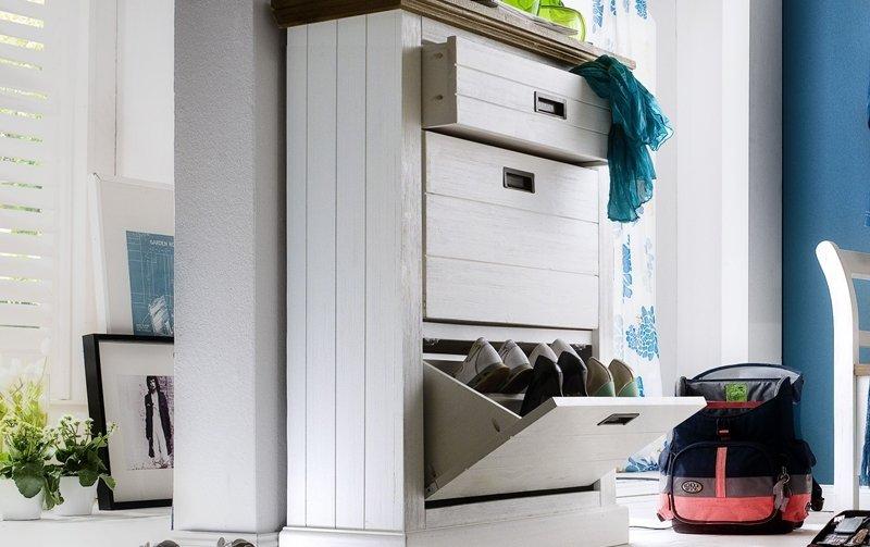 Bílý dřevěný botník GOMERA T86