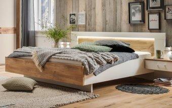 Moderní postel z lamina BILBAO alpská bílá/dub