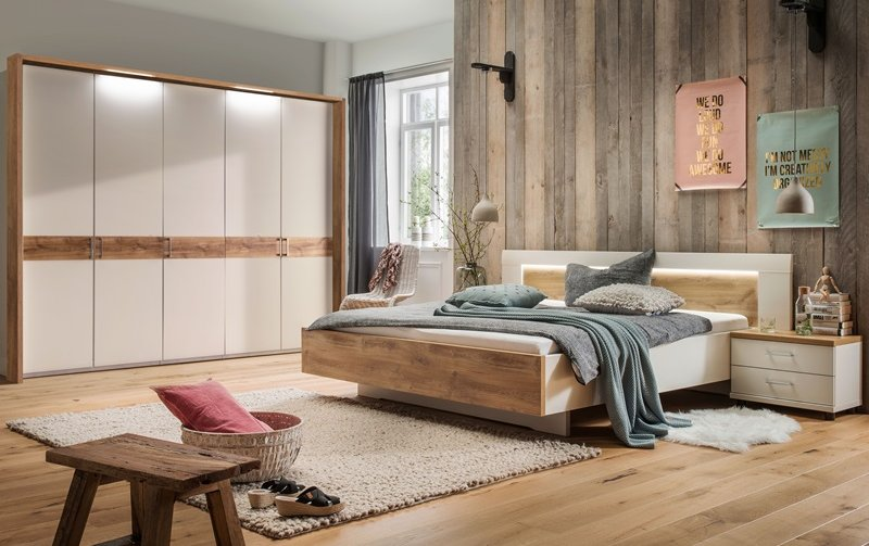 Moderní ložnice BILBAO 1 alpská bílá/dub