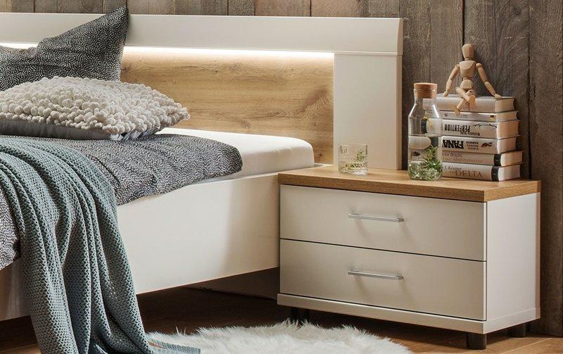 Noční stolek BILBAO alpská bílá/dub