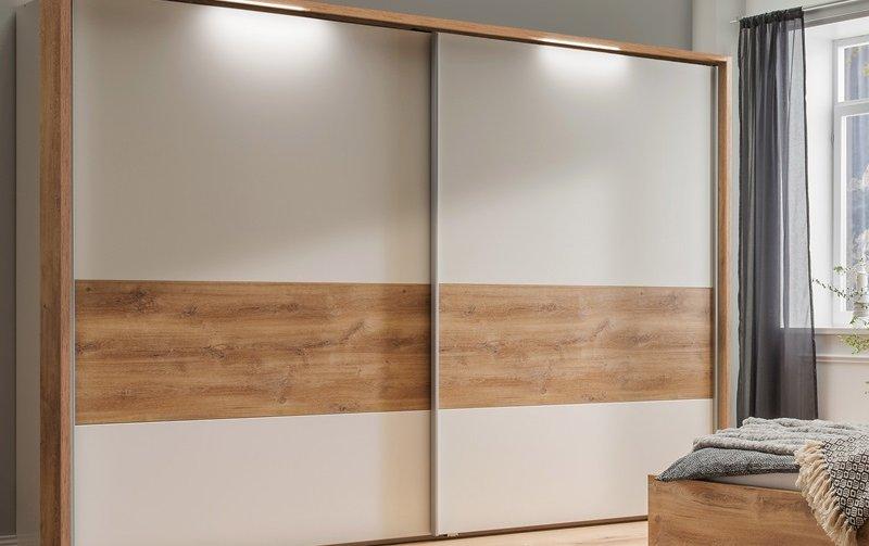Šatní skříň s posuvnými dveřmi a osvětlením BILBAO alpská bílá/dub