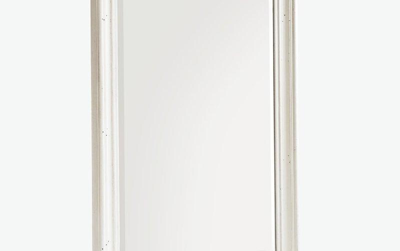 Dřevěné bílé zrcadlo BODDE
