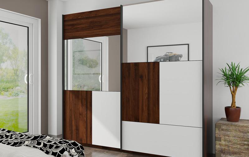 Šatní skříň s posuvnými dveřmi BONO ořech Columbia/matná bílá