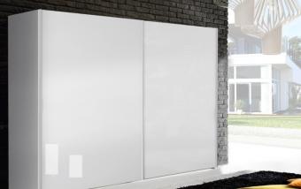 Šatní skříň s posuvnými dveřmi BRILLIANT bílý lesk