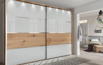 Skříň s posuvnými dveřmi CHICAGO alpská bílá/dub