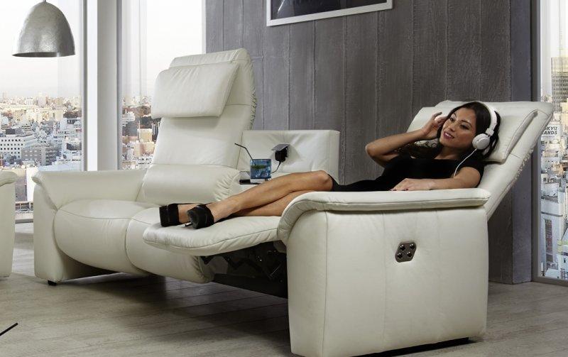Luxusní kožená televizní pohovka s funkcí relax COMFORT LUX