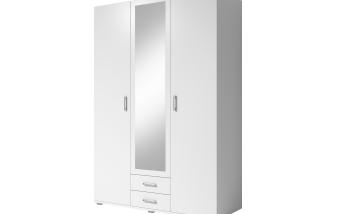 Šatní skříň bílá 3-dílná se zásuvkami MILKYWAY