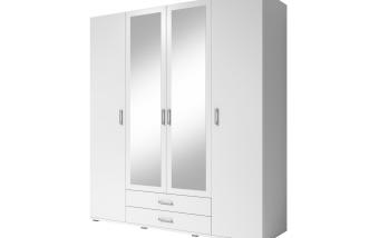 Šatní skříň bílá 4-dílná se zásuvkami MILKYWAY