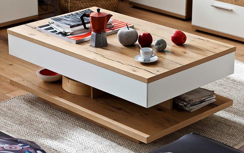 Konferenční stolek NIZZA dub přírodní/bílý lak