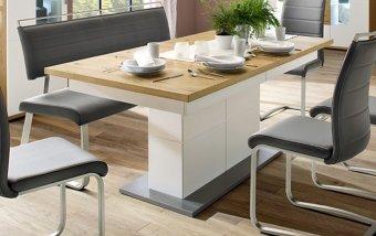 Rozkládací jídelní stůl NIZZA dub přírodní/bílý lak