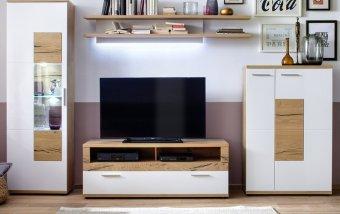 Nábytek do obývacího pokoje NIZZA I dub přírodní/bílý lak