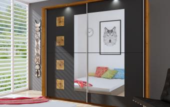 Šatní skříň s posuvnými dveřmi Paloma dub Riviera/šedá