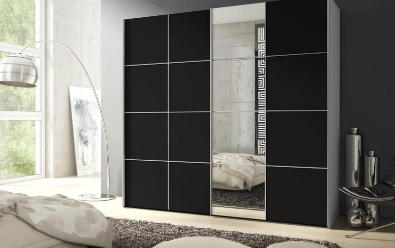 Šatní skříň s posuvnými dveřmi SCREEN IV matná černá/bílá
