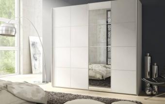 Bílá šatní skříň s posuvnými dveřmi SCREEN III