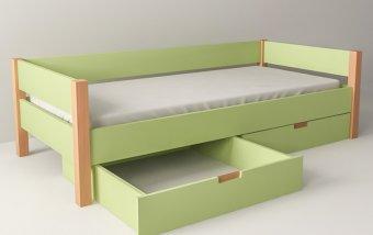 Postel do dětského pokoje se zásuvkami 200x90 buk masiv/zelená