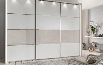Šatní skříň s posuvnými dveřmi ALESSIO bílá/champagne
