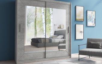 Šatní skříň s posuvnými dveřmi se zrcadlem ALFA beton colorado