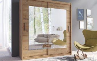 Šatní skříň s posuvnými dveřmi se zrcadlem ALFA dub grandson