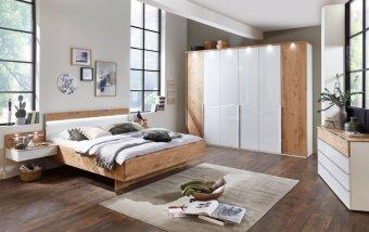 Moderní ložnice AMARILLO sklo bílá LESK/dub balken