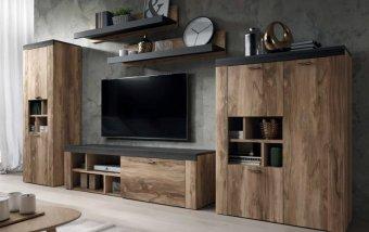 Moderní obývací stěna AMY ořech satin touchwood