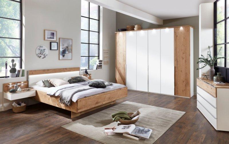Moderní ložnice AMARILLO sklo bílá MAT/dub balken