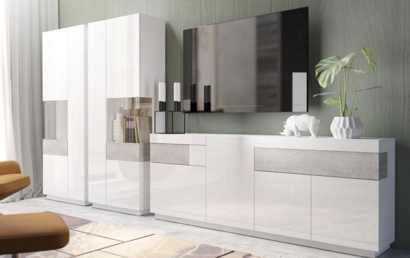 Nábytek do obývacího pokoje SILKE III bílá/bílý lesk - beton colorado