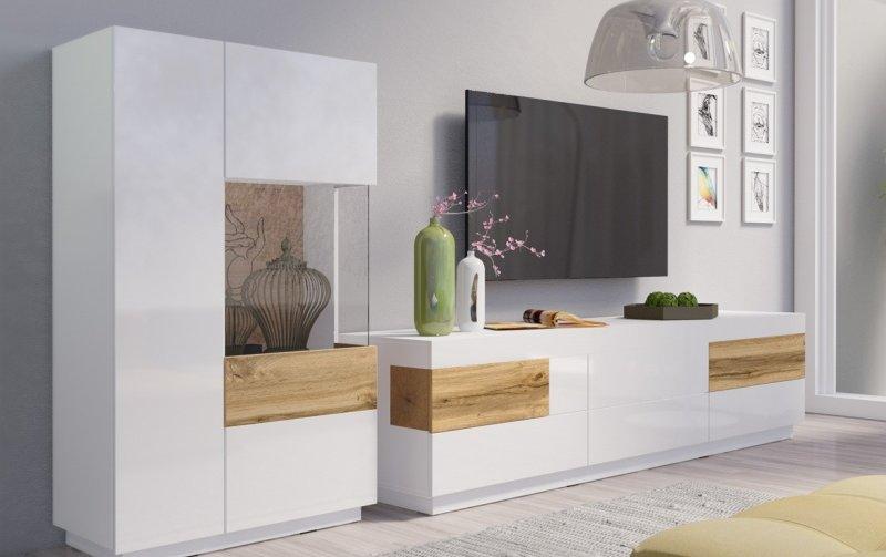 Nábytek do obývacího pokoje SILKE I bílá/bílý lesk - dub wotan