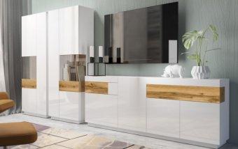 Nábytek do obývacího pokoje SILKE III bílá/bílý lesk - dub wotan