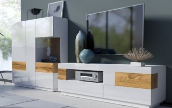 Nábytek do obývacího pokoje SILKE II bílá/bílý lesk - dub wotan