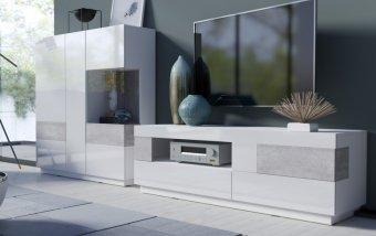 Nábytek do obývacího pokoje SILKE II bílá/bílý lesk - beton colorado