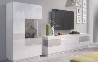 Nábytek do obývacího pokoje SILKE I bílá/bílý lesk - beton colorado