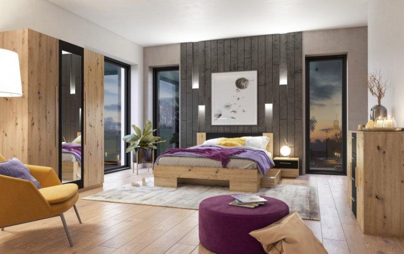 Moderní ložnice VERA dub Artisan/černá