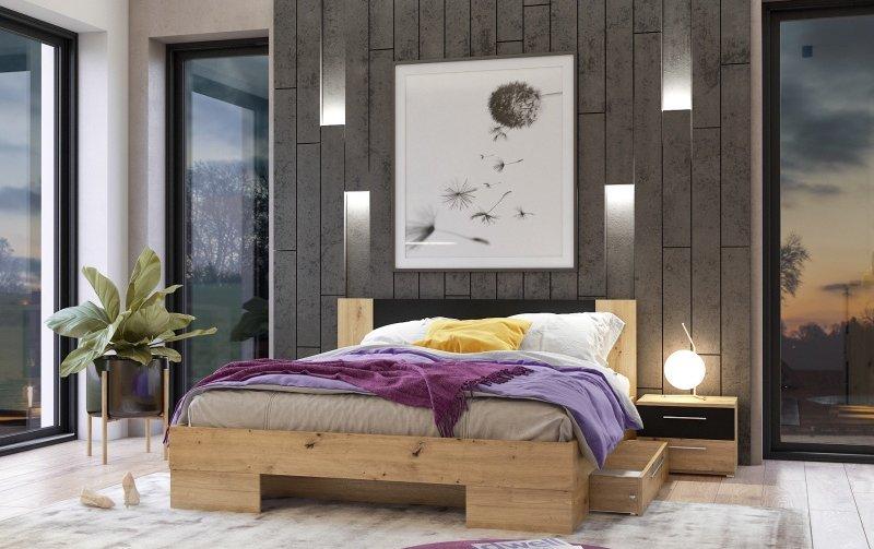 Postel s nočními stolky VERA 160x200 dub Artisan/černá