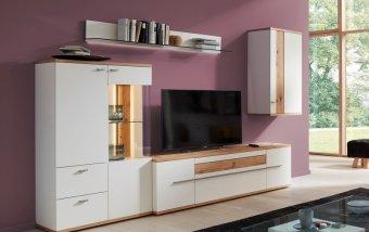 Obývací stěna ATENA 1 bílá/dub medový