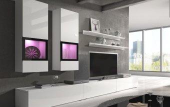 Moderní obývací stěna BAROS bílá/bílý lesk