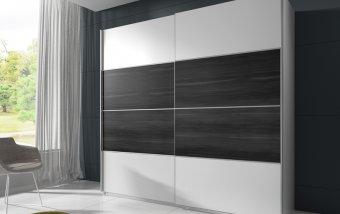 VÝPRODEJ: BETA skříň s posuvnými dveřmi 200 cm bílá/černý ořech