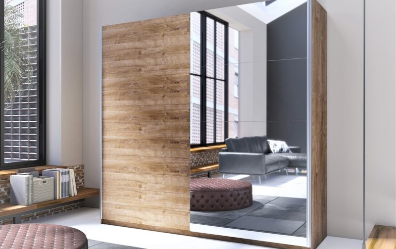 Šatní skříň s posuvnými dveřmi s zrcadlem BETA dub ribbec