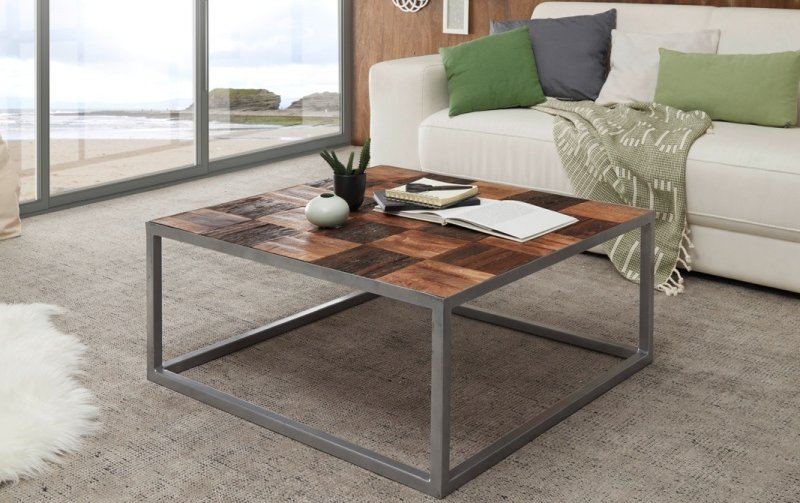 Konferenční stolek BINTO - kombinace mangového dřeva a dřeva postaršeného
