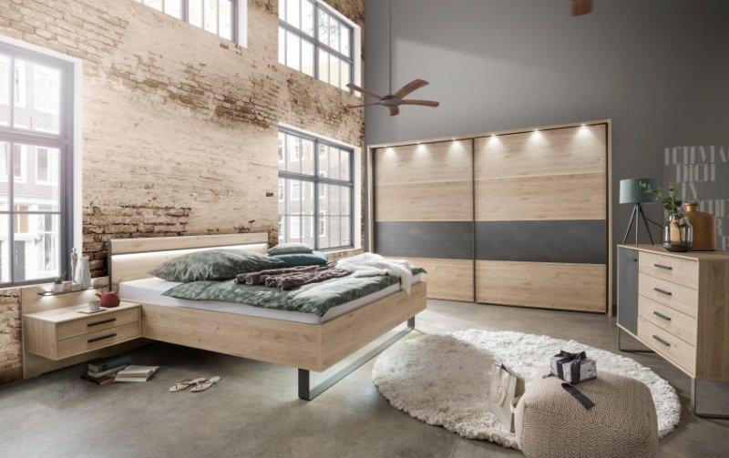 Moderní ložnice Brüssel dub stein/tmavá břidlice 2