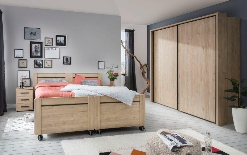 Moderní ložnice Brüssel dub stein/tmavá břidlice 4
