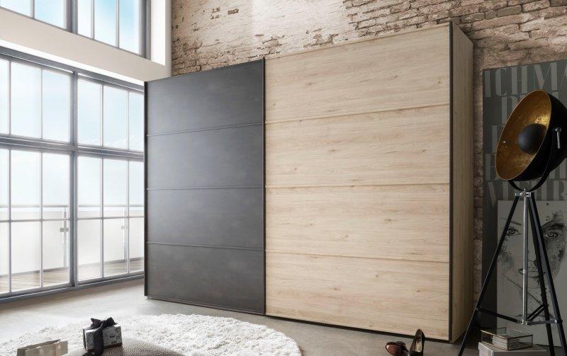 Šatní skříň s posuvnými dveřmi Brüssel dub stein/tmavá břidlice