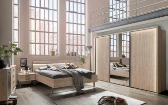 Moderní ložnice Brüssel dub stein/tmavá břidlice 3
