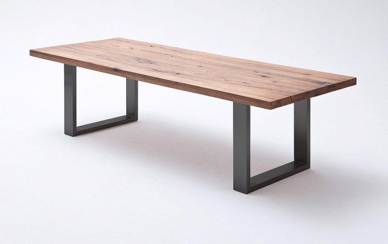 Jídelní stůl CASTELLO tmavý dub bassano masiv/lak antracit