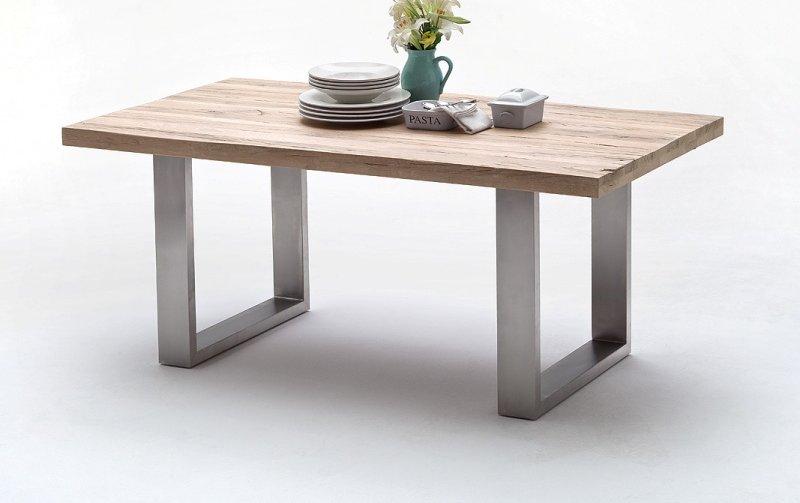 Jídelní stůl CASTELLO dub bělený/leštěná ocel