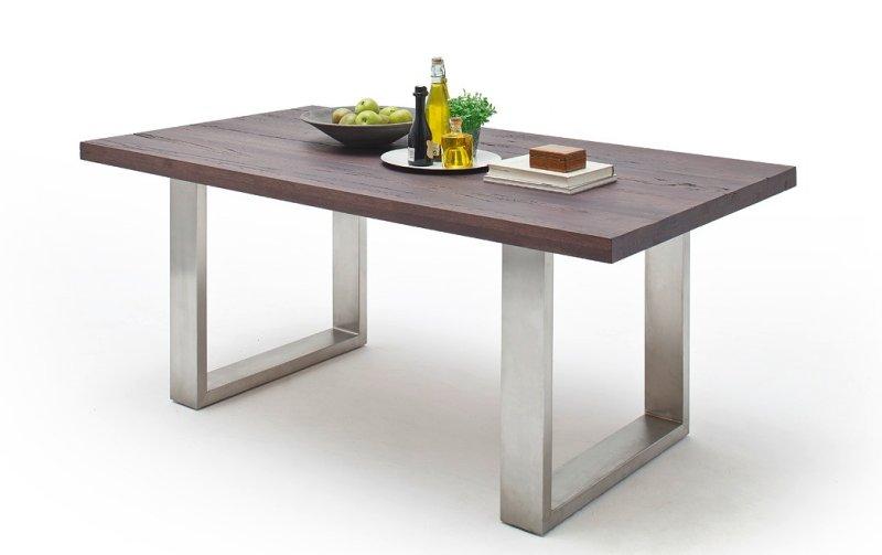 Jídelní stůl CASTELLO dub zastaralý/leštěná ocel