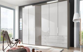 Šatní skříň CAYENNE šedá/bílé sklo