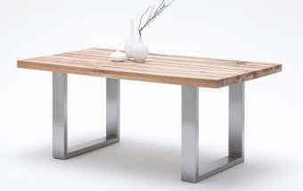 Jídelní stůl CASTELLO dub divoký přírodní/leštěná ocel